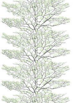 <p>Riina Kuikan suunnitteleman Lumi Classic -kuosin oksat ovat saaneet kiehkuraisen lumipeitteen. Vaikka kuosin nimi ja kuvio viittaavat talveen, sopii Lumi-kangas ympärivuotiseen käyttöön oksilla olevan lumen kiehkuraisen ja hieman ku
