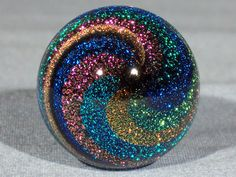 """Marbles: Hand Made Art Glass James Alloway Dichroic """"Stardust"""" #163  1.22 inch #Glass"""