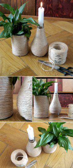 Vasen und Kerzenständer selber machen mit Hanfschnur und Konservendosen / Glasflaschen