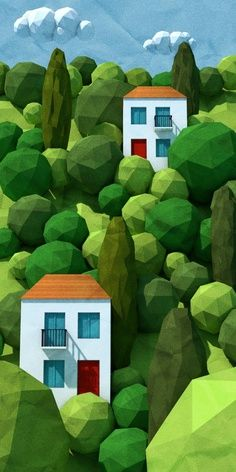 Low Poly Trees and Houses