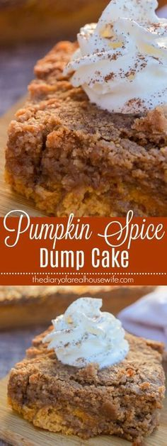 The easiest dessert you will make this fall! This Pumpkin Spice Dump Cake is pac… The easiest dessert you will make this fall! This Pumpkin Spice Dump Cake is packed with fall flavor that you are going to love. Spice Cake Recipes, Pumpkin Cake Recipes, Pumpkin Spice Cake, Dump Cake Recipes, Simple Pumpkin Cake Recipe, Pumpkin Poke Cakes, Coffee Recipes, Pumpkin Cheesecake, Frosting Recipes