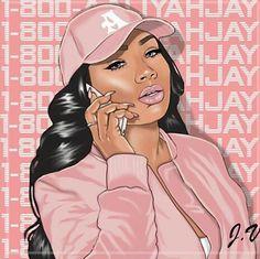 art, pink, and aaliyahjay image Art Black Love, Black Girl Art, Black Girl Magic, Dope Kunst, Art Magique, Drawings Of Black Girls, Arte Black, Trill Art, Black Girl Cartoon