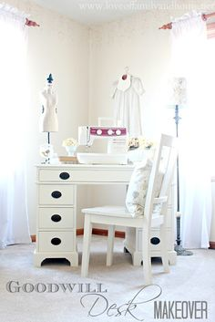Goodwill Desk Makeover - Love of Family & Home