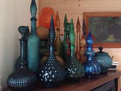 Part of My vintage glass genie bottle collection