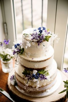 Rustic & Relaxed Wildflower Barn Wedding in Yorkshire Bridal Shower Cakes Rustic, Wedding Cake Rustic, Elegant Wedding Cakes, Cool Wedding Cakes, Beautiful Wedding Cakes, Wedding Cake Designs, Wedding Cake Toppers, Elegant Cakes, Nautical Wedding