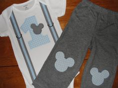 Mickey Mouse 1st Birthday Outfit Gray and Baby by HomeArtsBoerne, $34.95