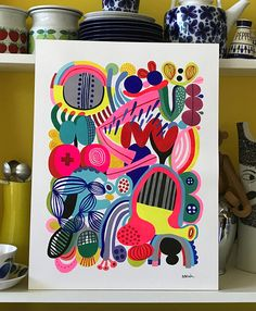 Your place to buy and sell all things handmade Modern Art Paintings, Colorful Paintings, Gouache Painting, Painting & Drawing, Painting Abstract, Abstract Watercolor, Arches Watercolor Paper, Watercolor Pattern, Doodle Art