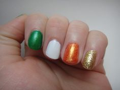 Not good at nail art? - Just pull out some traditional Irish Flag polish shades - Green, white, orange - add some gold and voila!