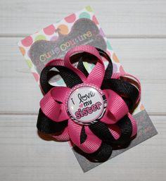 LOVE MY SISTER Sister Button BowBig SisterRibbon by CutieCouture4u, $4.95
