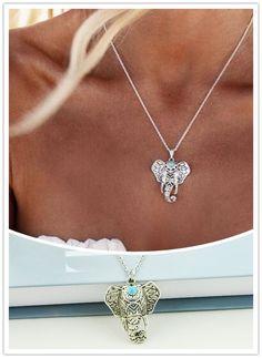 New vintage modeschmuck silber farbe Elefanten anhänger halskette für frauen mädchen N1824