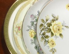 4 Mismatched Vintage Dinner Plates for Weddings, Showers, Tea Parties, Shabby Chic by michilina on Etsy