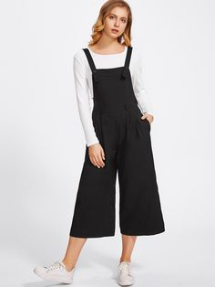 9fb5ad6ba990 Shop Buttoned Strap Elastic Waist Culotte Jumpsuit online. SheIn offers  Buttoned Strap Elastic Waist Culotte