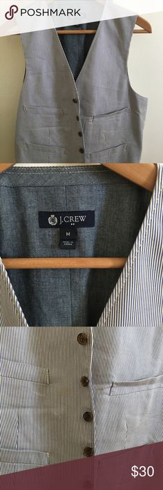 J.Crew Men's Seersucker Waistcoat Size Medium Practically new, just needs a press. The inside is like a denim so it looks great on with the contrast in blues. Size medium. Thank you! J. Crew Jackets & Coats Vests