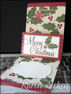 Christmas Card made with Sizzix Pop 'N Cut dies and a Christmas scrapbook kit Pop Up Christmas Cards, Christmas Scrapbook, Pop Up Cards, Winter Christmas, Merry Christmas, Scrapbook Kit, Anna Griffin, Tim Holtz, Altered Art
