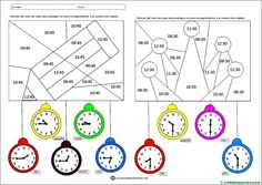 Fichas para aprender las horas en Primaria - Web del maestro School Subjects, Math For Kids, Reggio Emilia, Worksheets, Activities, Learning, Ale, Google, Toddler Activities