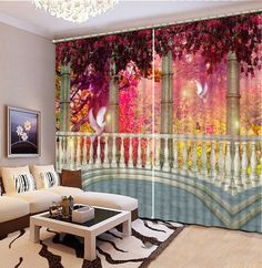 Custom blackout curtains Continental Scenery curtains for bedroom living room kitchen curtains 3d stereoscopic modern curtains #Affiliate