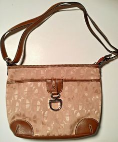 5ba76ab888 Details about Etienne Aigner Tan Logo Canvas Brown Trim Strap Shoulder Handbag  Purse Vintage