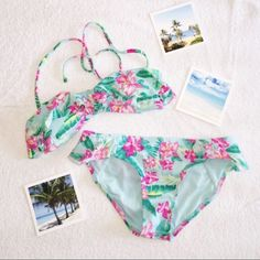 Beachy Floral Bikini** Pastel blue/mint green colored floral bikini with removable straps and padding.  tags cut off but  it is size small Forever 21 Swim Bikinis