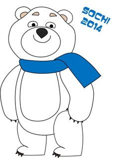 sochi mascot coloring pages, polar bear, link to other olympic colouring pages mascots hare, leopard, Paralympics snow flake and ray of light colouring pages also general olympic colouring pages