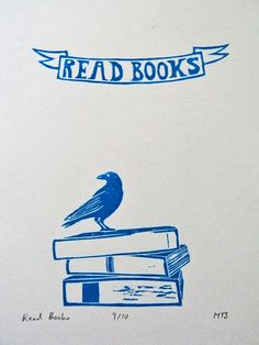 Read Books - Hand-Pulled Lino Print $18