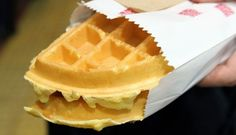 Made-to-order iconic HK waffles from Ada, Wan Chai -- Waffles are served with a house blend of sesame, coconut flakes, crushed peanuts and sugar. Hk Restaurant, Discover Hong Kong, Waffle Ice Cream, The Dish, Coconut Flakes, Waffles, Pancakes, Street Food, Peanut Butter