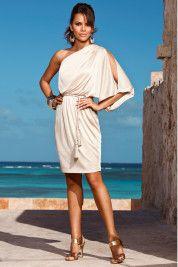 Boston ProperMetallic one-shoulder belted dress