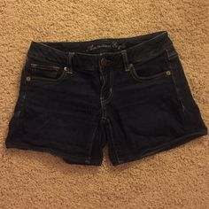 American Eagle indigo denim shorts, size 0 This is a pair of indigo colored denim shorts from American Eagle, size 0. They are very comfortable and have only been worn a few times. American Eagle Outfitters Shorts