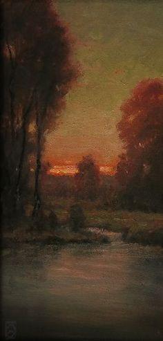 Sunset Over Sauvie Island by Michael Orwick Oil ~ 16 x 8