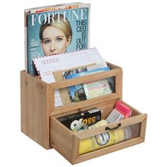 Amazon.com : Natural Unfinished Wood Mini Office Supply Storage Cabinet / File Letter Desktop Organizer - MyGift® Home : Office Products
