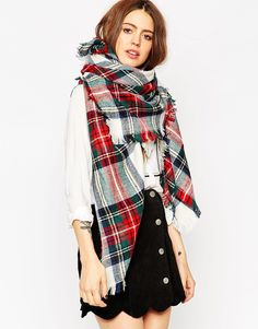 ASOS+Oversized+Square+Scarf+In+White+Based+Check