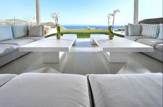 Luxury Mykonos Villa With Contemporary Mediterranean Decor Outdoor Areas, Outdoor Sofa, Outdoor Living, Outdoor Furniture Sets, Residential Architecture, Interior Architecture, Dream Home Design, House Design, Ocean View Villas