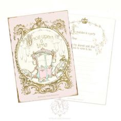 Once upon a time, Invitations, Cinderella, carriage, shower tea, high tea, Party, Fairy tale, pink, gold, bridal shower, crown, princess