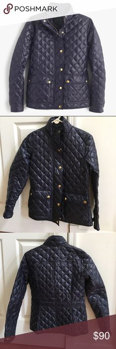 JCrew | Shiny Downtown Field Puffer Jacket Brand new, never worn! Classic quilted navy jacket filled with down to keep you warm on a chilly day. Details and stitching create nice shape against body. Same style as the downtown field jacket. (Last 2 pictures used to show jacket modeled, not selling silver color) J. Crew Jackets & Coats Puffers