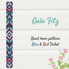 Blue and Red bead loom pattern #beadwork #tribal #tribalbracelet #nativeamerican #nativeamericanbeadwork