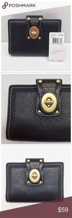 {Coach} Leather Agenda / Planner / Wallet ✅Questions, offers thru offer button 🚫Trades, holds, $$ talk in comments plz Coach Leather Slip Jacket Planner style 60303  - Pebbled glove-tanned leather  - Brass turnlock  - 2 card slots inside + 2 bill pockets + planner insert pocket  - Replacement planner inserts avail. @coach.com or just use generic ones  - Fits Passport snugly in bill pockets   - Very nice condition as shown in pics Please ask ?s if unsure of anything 🙂 Coach Bags Wallets