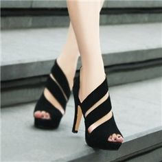 Rome Fashion Sexy Lady Black Peep Toe Heel Shoes/Sandals on discounted prices by using promo or voucher or coupon codes.