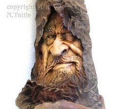 ORIGINAL WOOD SPIRIT CARVING MAGIC SORCERER MYSTIC WIZARD LORD OOAK NANCY TUTTLE