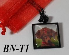 RED Poodle Photo Pendant Necklace - Black gun metal or Silver Finish - Custom Personalized Pet Jewelry also available
