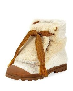 Chloe Parker Shearling Fur Lace-Up Ankle Boot. Great Fall fashion look. Tomgirl style