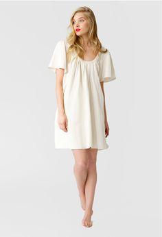 Forsling Off-White Silk Linen Trapeze Dress