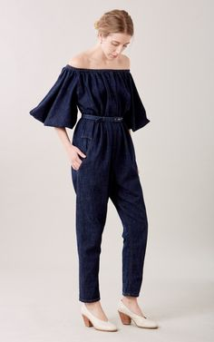 bdecbce5eada Off-shoulder jumpsuit in our Lightweight Denim with gathered sleeves and a  relaxed silhouette.