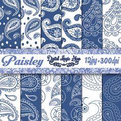 Blue White Paisley Pattern Digital Papers Pack by DigitalMagicShop, $2.50