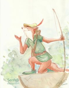 Day 3 : - Robin Hood by SerifeB Disney deviantart Disney Nerd, Arte Disney, Disney Fan Art, Disney Love, Disney Magic, Disney Pixar, Disney Dudes, Disney Animated Movies, Disney Films