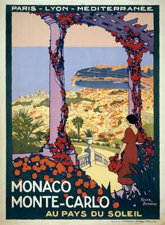 """""""In the land of the sun."""" A woman stands on a terrace overlooking Monte Carlo, c. 1920."""