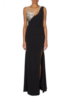Jovani | Long Jersey Gown Black | Sleeveless floor length jersey Jovani gown features a sexy slit.