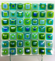 """More """"Happy greens"""" fused glass plate design Lone Meldgaard"""
