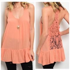 """PEACH LACE RACERBACK Lovely peach racerback top with a dropped hemline and crochet back. 100% viscose.  Small: B30"""" W36"""" L30""""  L (1) Please comment size needed below No PayPal. No trades. Posh rules. Price firm unless bundled. Tops Tank Tops"""