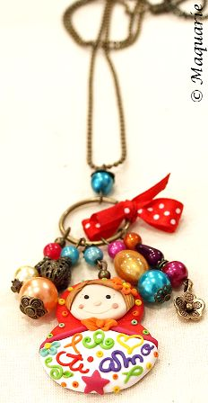 Polymer clay necklace by Susana Alves