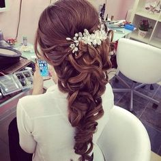 Elegant curls pinned back and cascading down the back<3