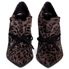 Pre-owned Stuart Weitzman Leopard Print Serval-hair Ankle Es 41... (220 CAD) ❤ liked on Polyvore featuring shoes, boots, ankle booties, black boots, brown boots, leather boots, black ankle booties and brown ankle booties